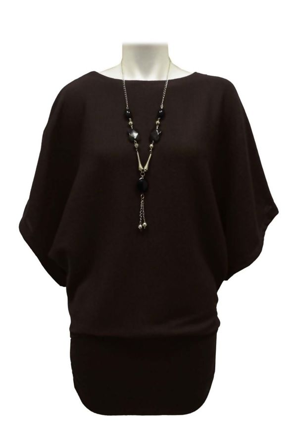Brown Batwing Jumper With Necklace