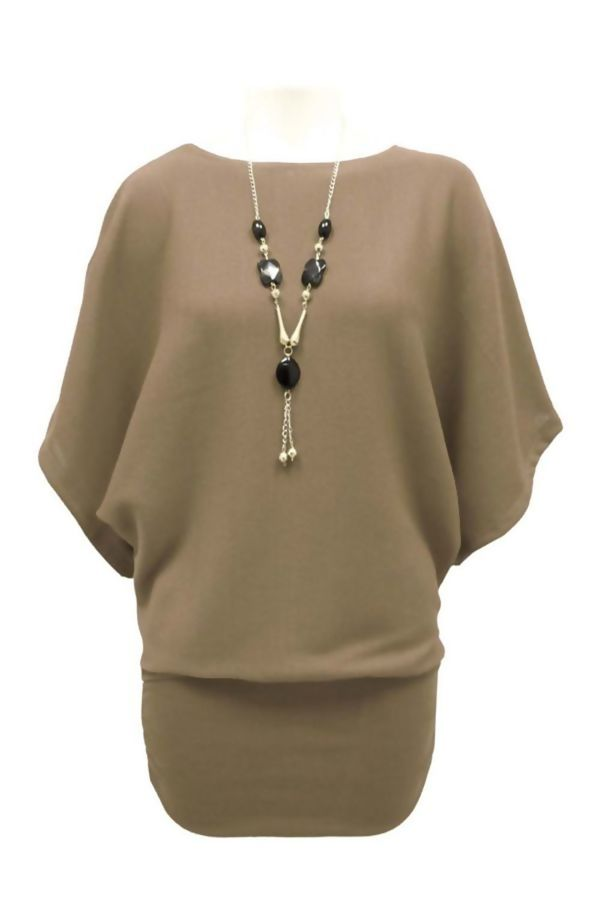 Batwing Jumper With Necklace