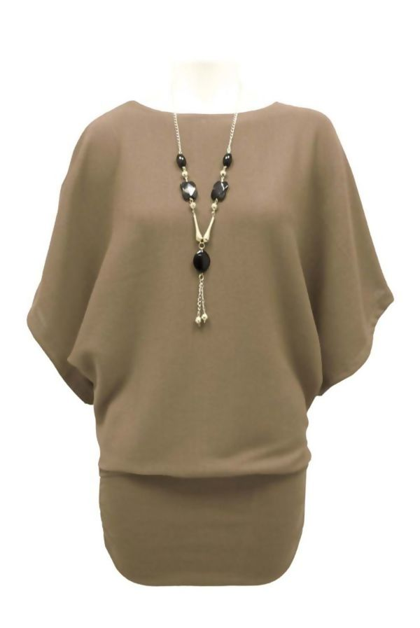 Light Grey Batwing Jumper With Necklace