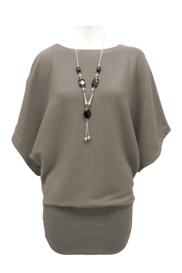 Orange Batwing Jumper With Necklace