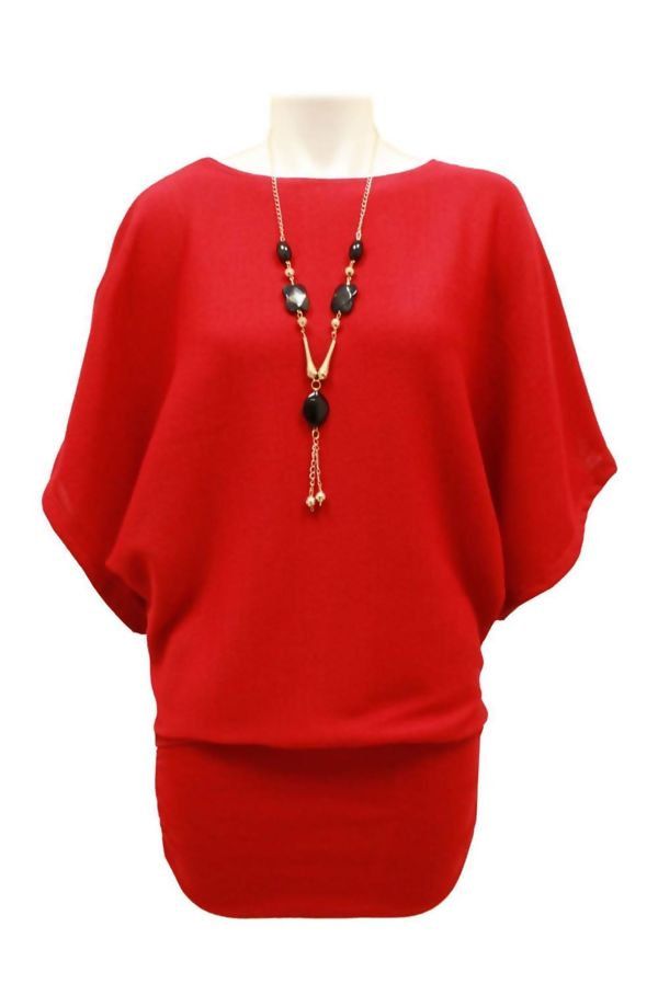 Red Batwing Jumper With Necklace