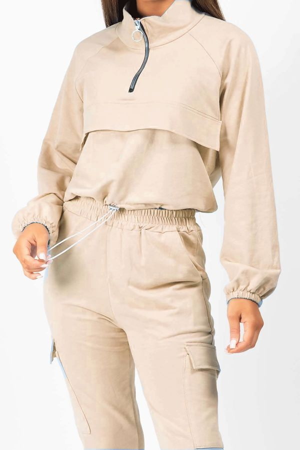 Beige Front Pocket Half Zip Lounge Set