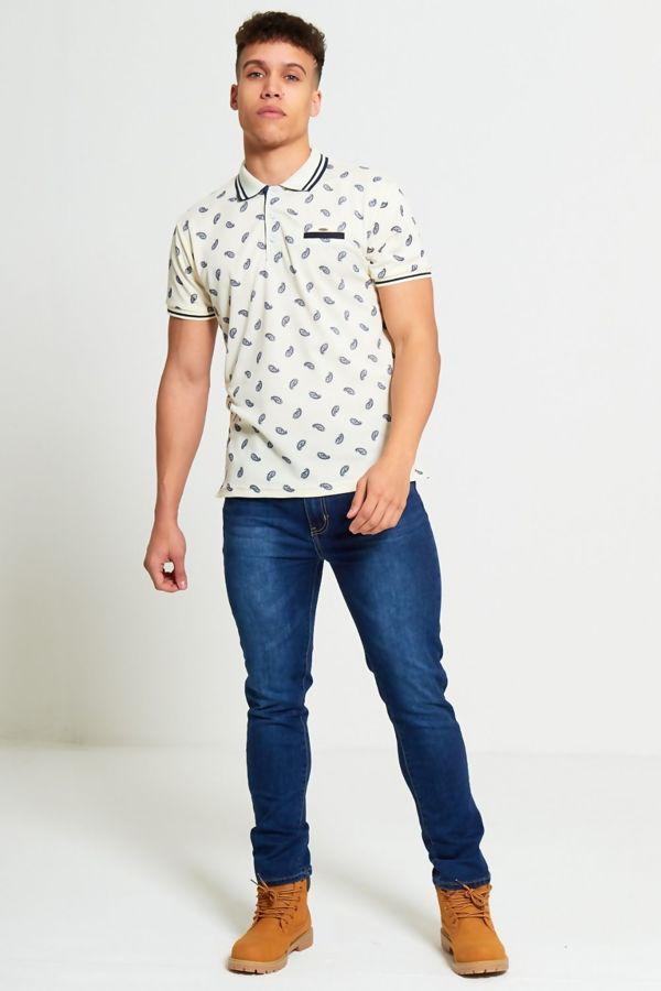 Beige Bandanna Pattern Polo Shirt