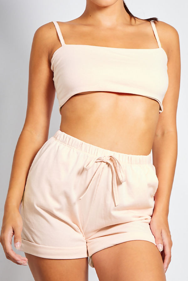 Beige Basic Crop Top and Short Set With Scrunchie