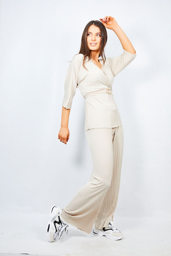 Beige Belted Two Piece Lounge Set