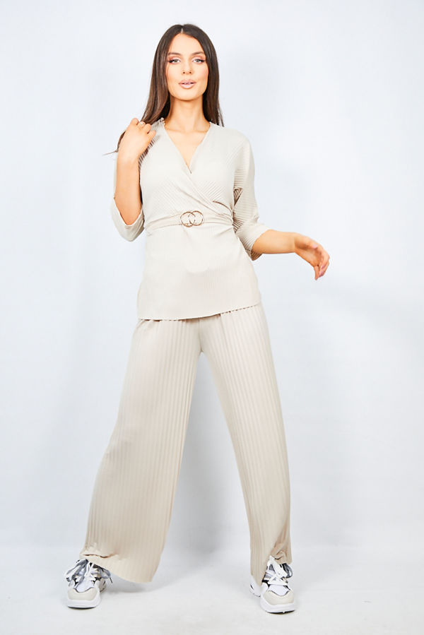 Cream Belted Two Piece Lounge Set