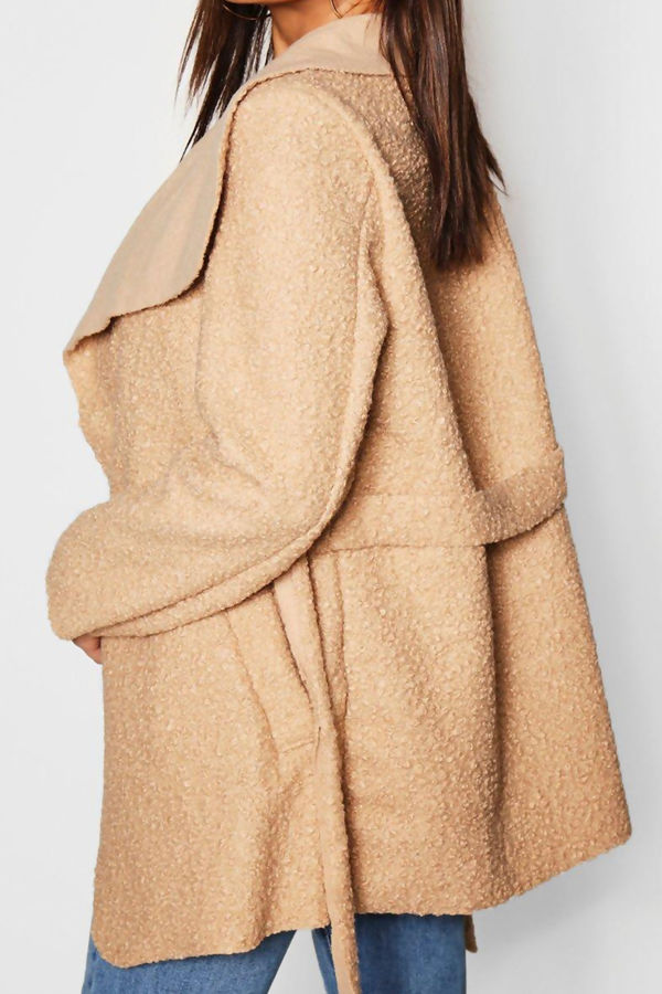 Beige Belted Waterfall Faux Fur Teddy Coat