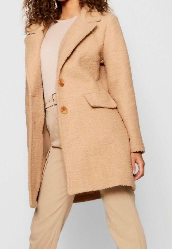 Beige Borg Teddy Button Coat