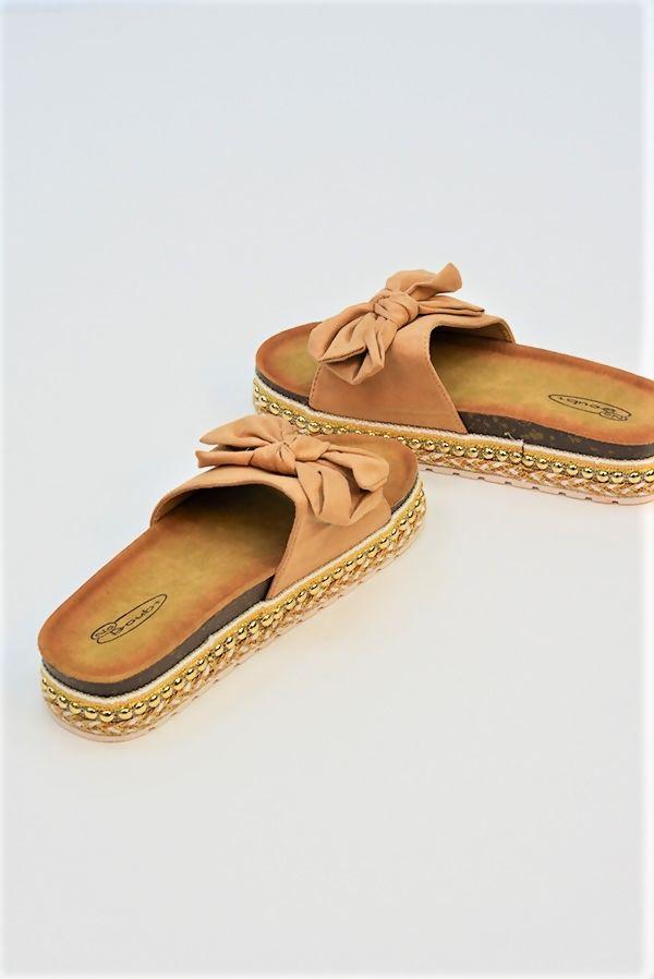 Beige Bow Platform Sandals
