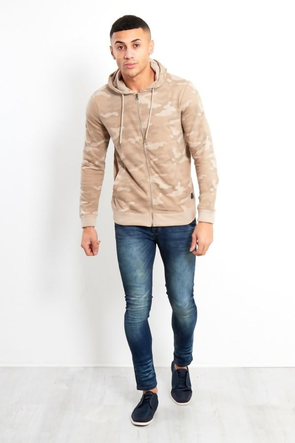 Beige Camo Zip Up Hood Jacket