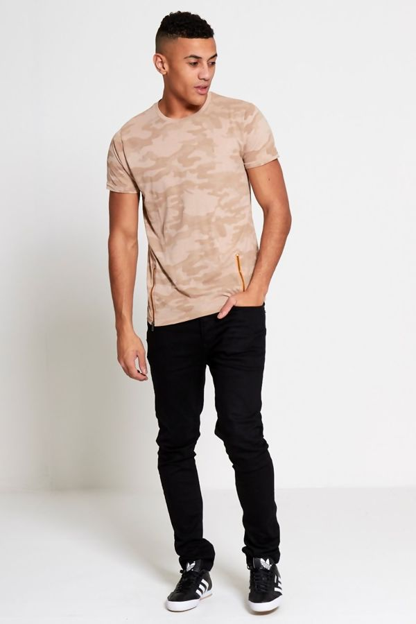 Beige Camo Zipper T-Shirt