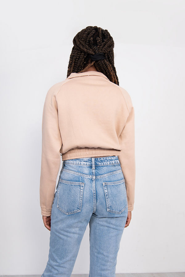 Beige Cargo Pocket Cropped Sweatshirt