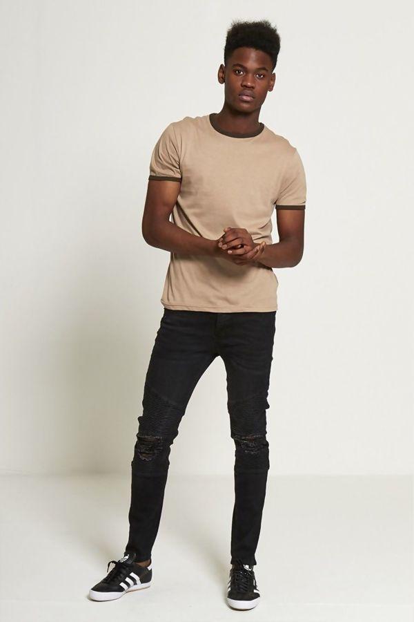 Beige Contrasting Collar T-shirt