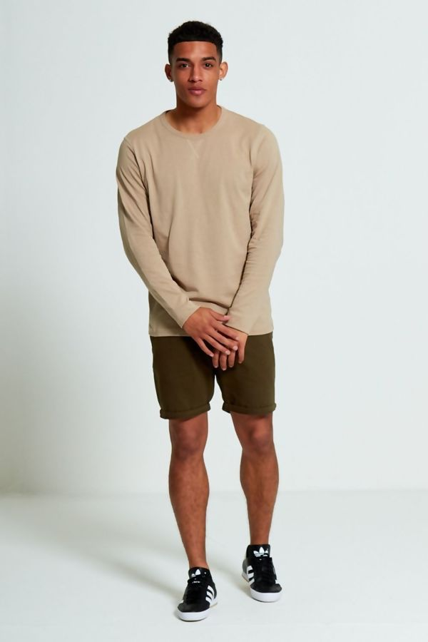 Beige Crew Neck Long Sleeve T-Shirt