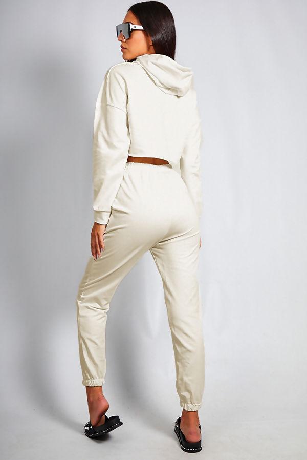 Beige Crop Top Hooded Co Ord Set