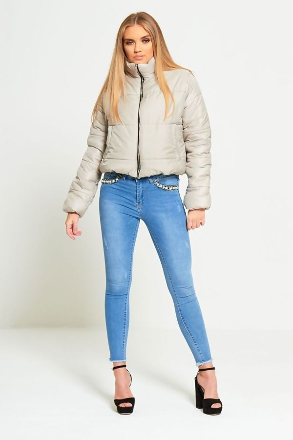 Beige Cropped High Neck Puffer Jacket