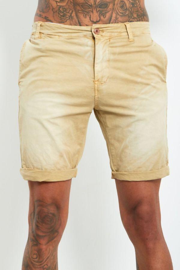 Beige Fade Wash Shorts