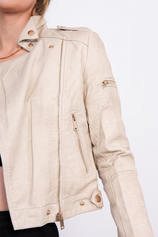 Beige Faux Leather PU Biker Jacket