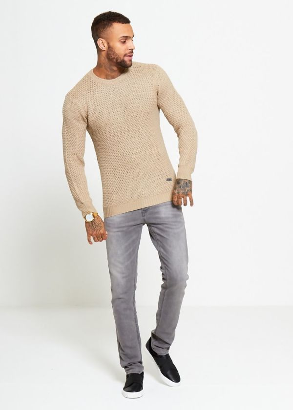 Beige Fisherman Knitted Jumper