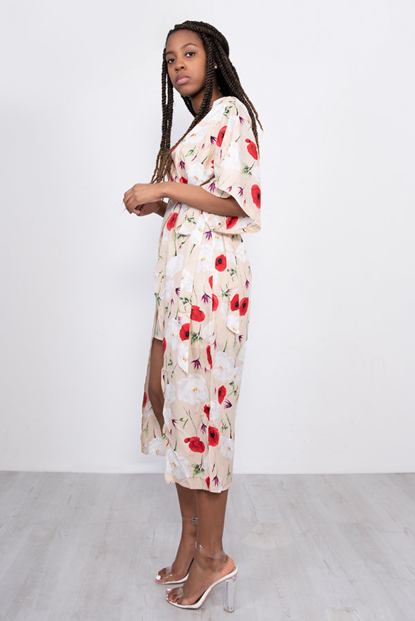 White Floral Print Kimono Sleeve Wrap Midi Dress
