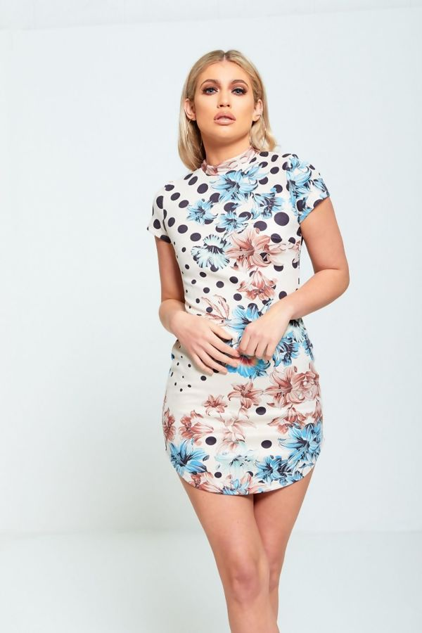 Beige Floral Printed Suede Mini Dress