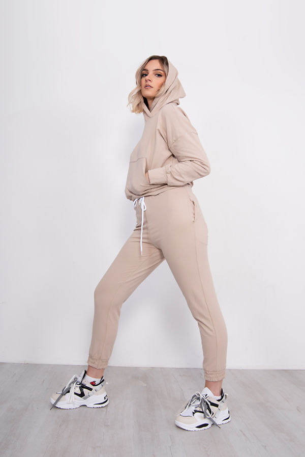Beige Hood Loungewear Set