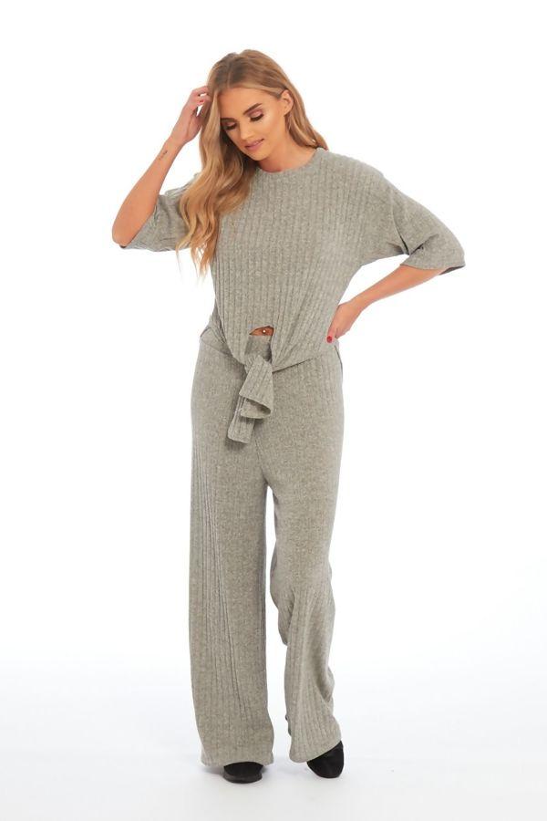 Beige Key Knot Wide Leg Trouser Co-Ord Set