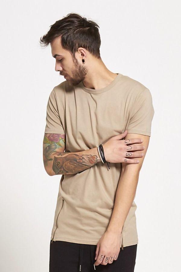 Beige Longline Zipper T-Shirt