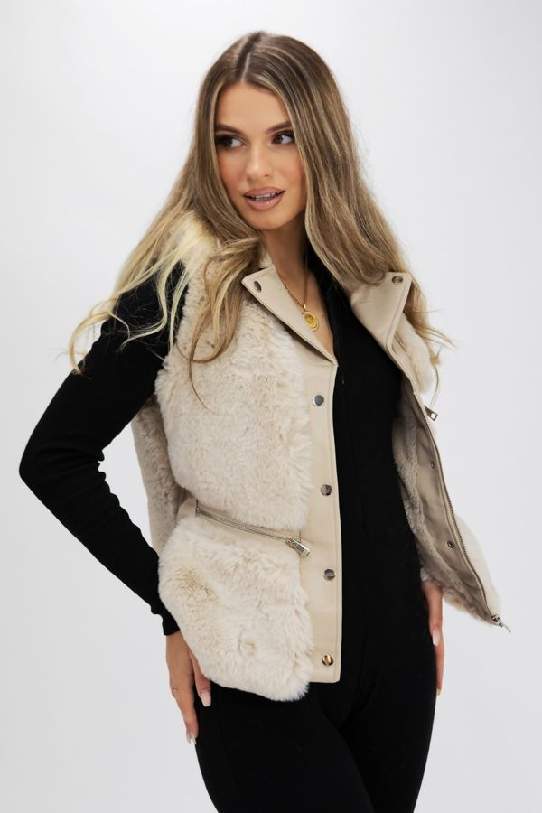 Beige PU Faux Leather Faux Fur Gilet