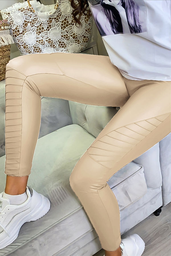 Beige PU High Waisted Biker Leggings