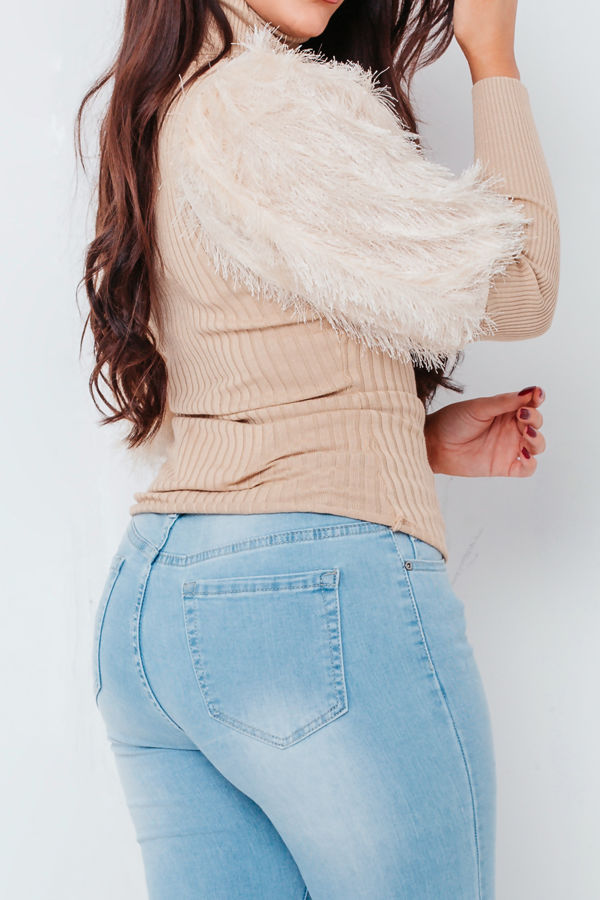 Beige Puff Fur Ribbed Top