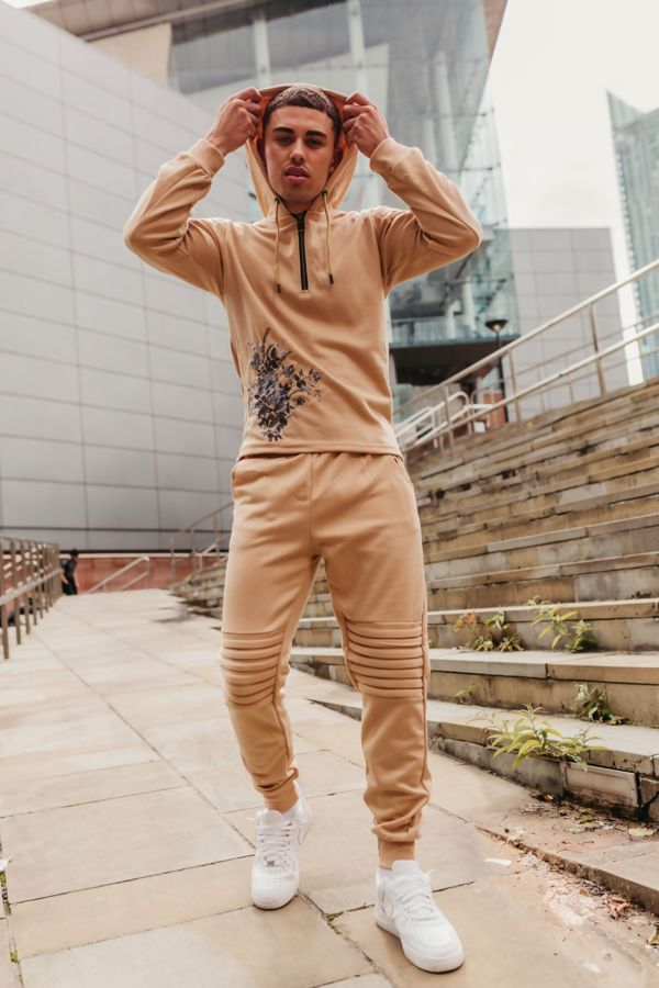 Beige Ribbed Floral Embroidered Pullover Tracksuit
