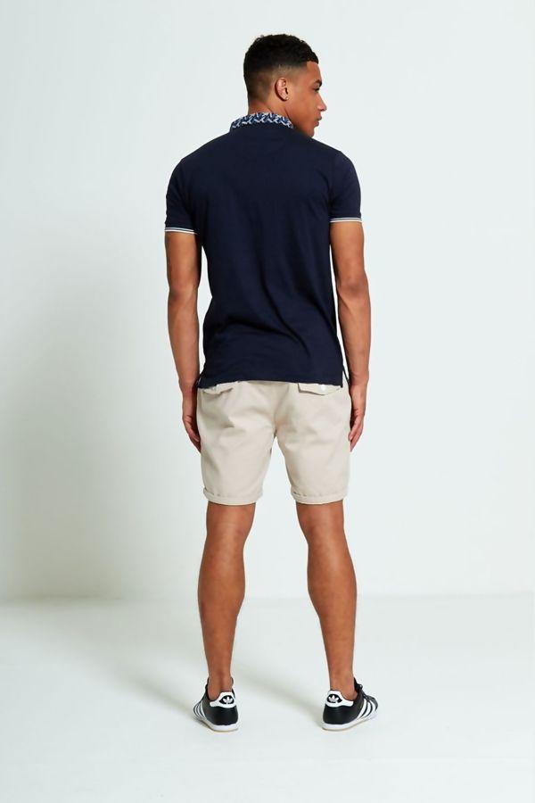 Beige Slim Fit Turn Up Shorts