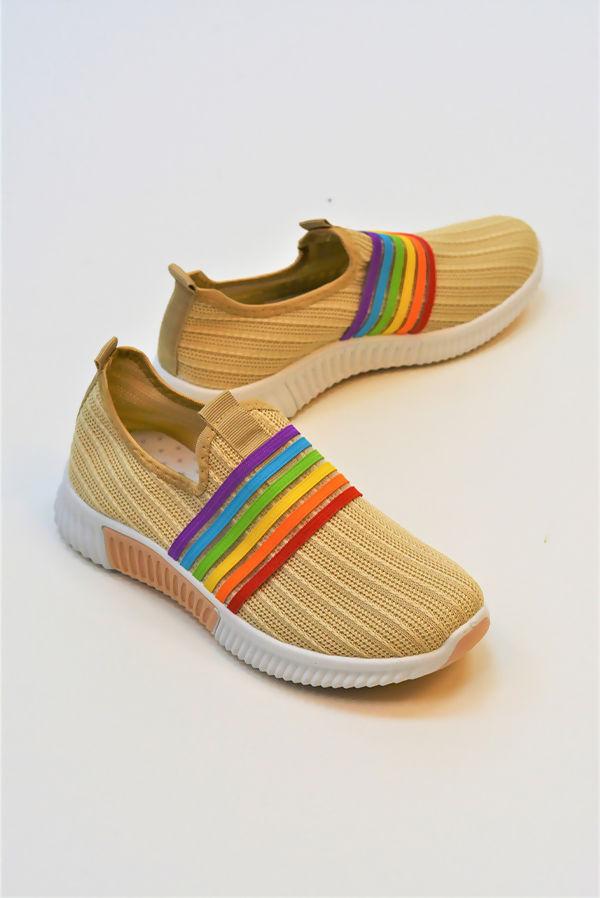 Beige Slip On Strapped Training Shoe
