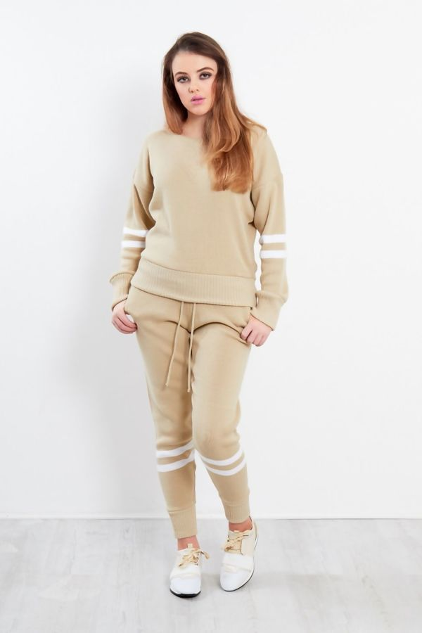 Beige Stripe Detail Knitted Tracksuit