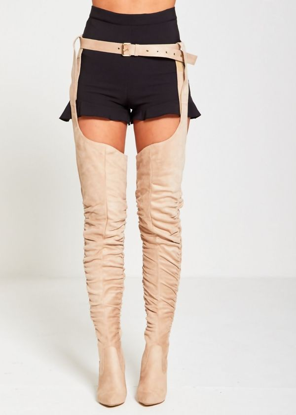 Beige Suede Belt Thigh High Boots
