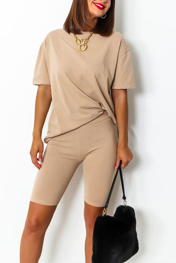 Beige T-shirt and Cycling Shorts Set