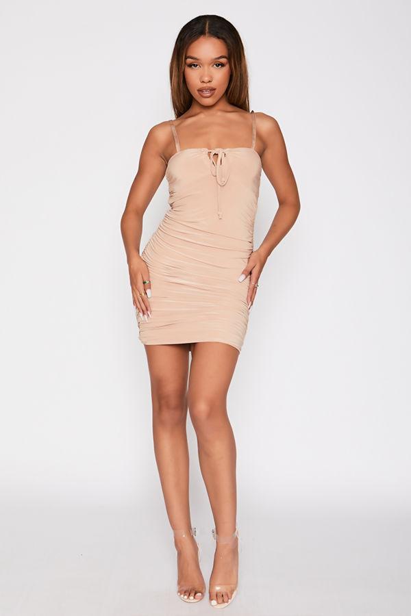 Beige Tie Front Ruched Slinky Dress