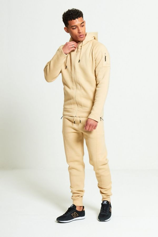 Beige Zip Through Skinny Fit Hood Tracksuit