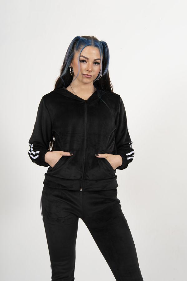 Black Velvet Double Stripe Zip Tracksuit