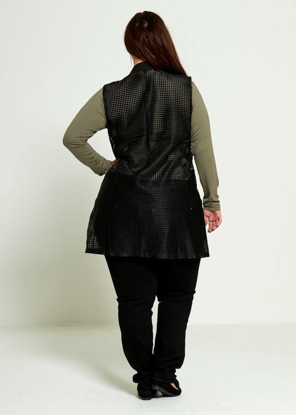 Plus Size White Fishnet Sleeveless Cardigan