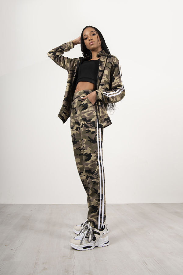 Camo Zip Up Two Stripe Tracksuit