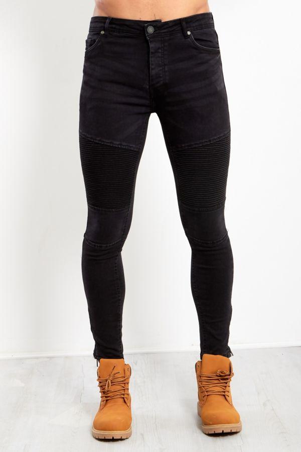 Black Biker Detail Skinny Jeans