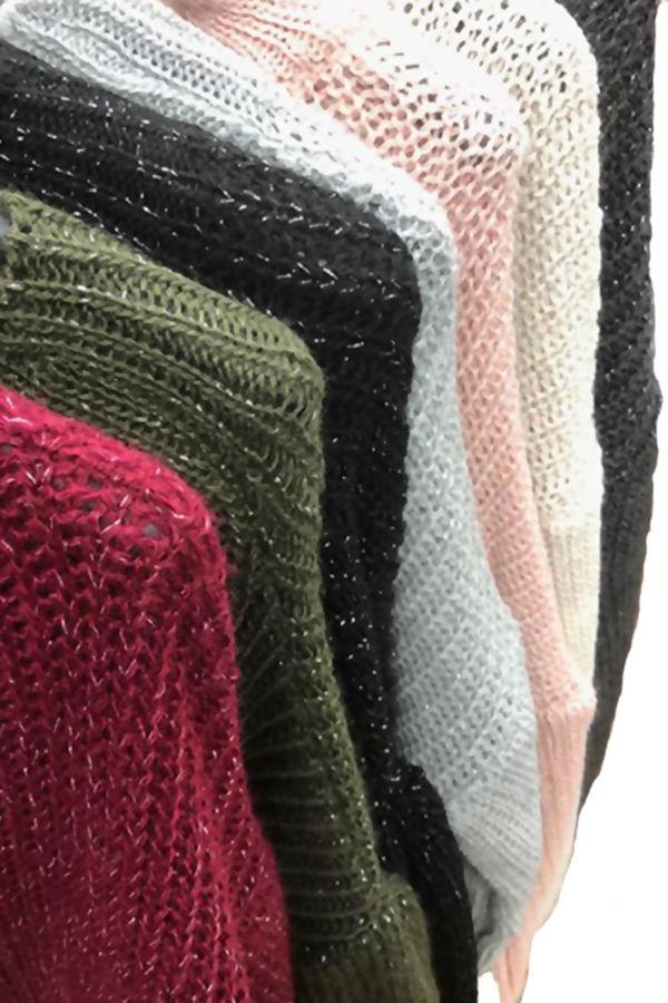 Bishop Sleeve Glitter Knit Jumper