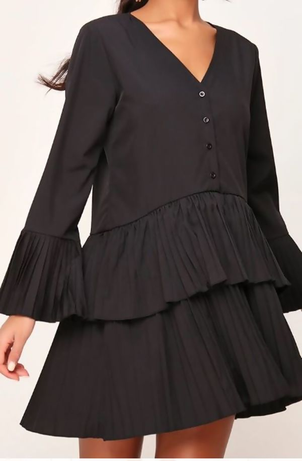 Black Pleated Smock Hem Dress