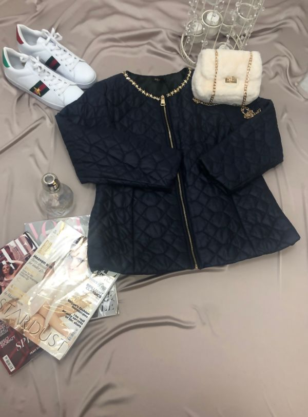 Plus Luxe Chain Neck Leight Weight Padded Jacket