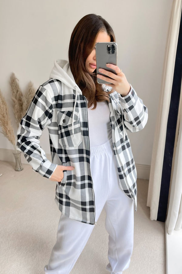 Black And White Check Shacket With Hood
