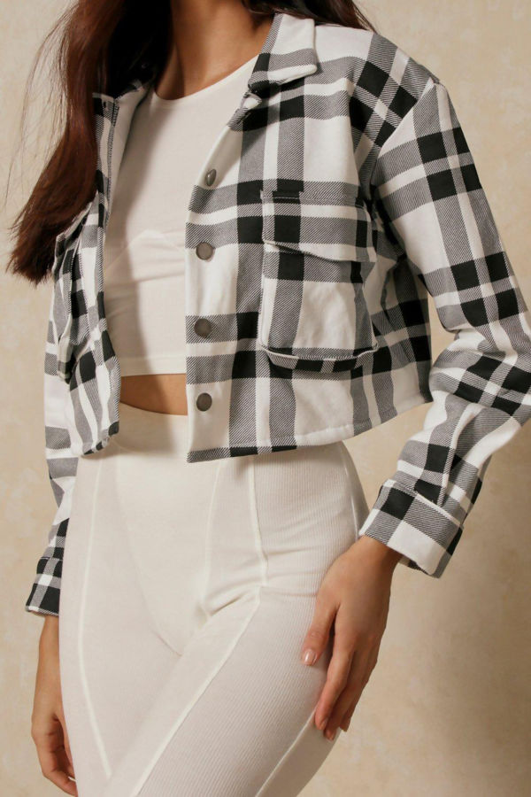 Black And White Cropped Checked Shacket