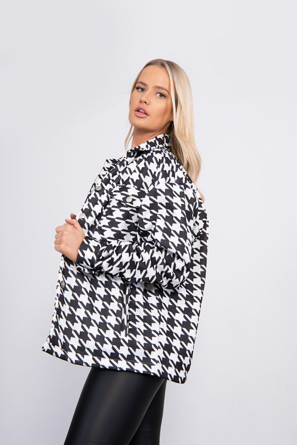 Black And White Houndstooth Shacket