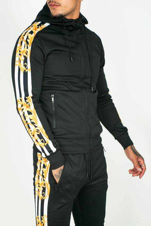 Black Animal Tape Skinny Fit Tracksuit